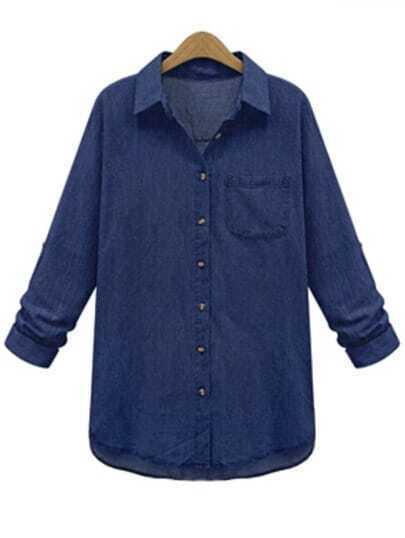 Blue Lapel With Pocket Denim Plus Blouse
