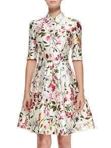 Multicolor Lapel Half Sleeve Floral Print Flare Dress
