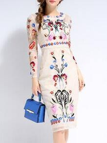 Apricot Long Sleeve Backless Contrast Gauze Embroidered Dress