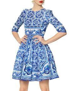White and Blue Porcelain Half Sleeve Print Dress