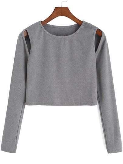 Grey Round Neck Hollow Crop Knit Sweater