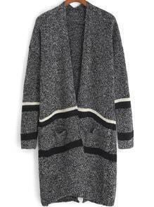 Grey Long Sleeve Striped Pockets Cardigan