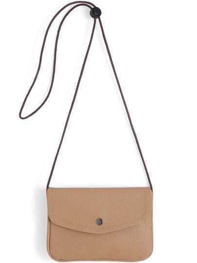 Khaki Casual PU Shoulder Bag