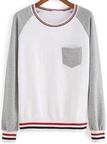 Grey White Round Neck Pocket Striped Sweatshirt
