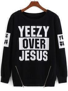 Black Round Neck Letters Print Zipper Sweatshirt