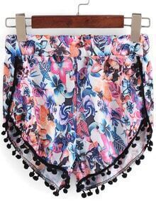 Multicolor Floral Peplum Trims Shorts
