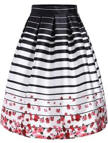 Black White Striped Rose Print Flare Skirt