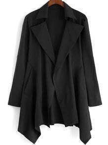 Black Lapel Loose Asymmetrical Coat
