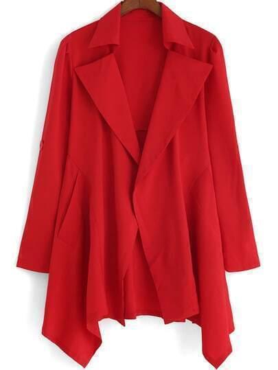 Red Lapel Loose Asymmetrical Coat