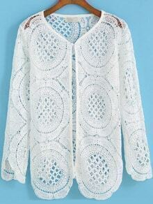 White Long Sleeve Hollow Floral Crochet Coat