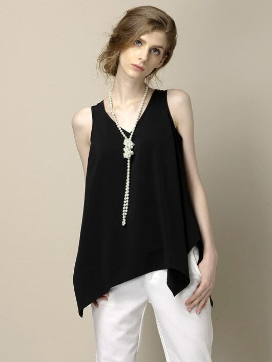 Black V Neck Chiffon Tank Top