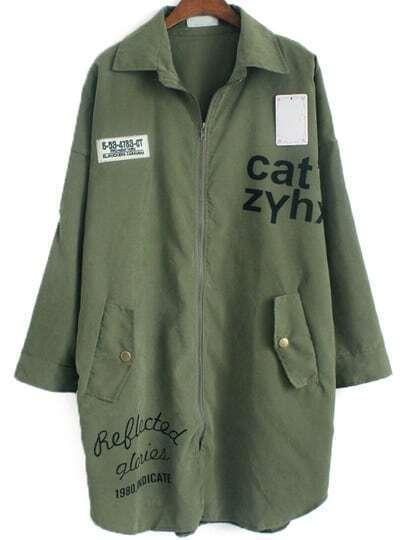 Army Green Lapel Letters Print Loose Coat