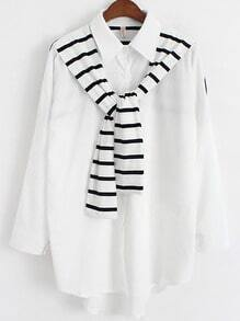 White Lapel Striped Cape Embellished Blouse