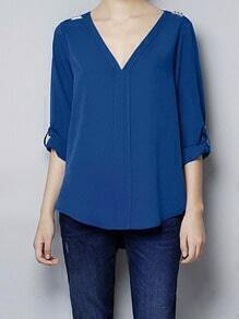 Blue V Neck Metal Epaulet Chiffon Blouse