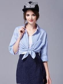 Blue White Half Sleeve Vertical Stripe Blouse