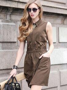 Brown Lapel Sleeveless Pockets Chiffon Dress