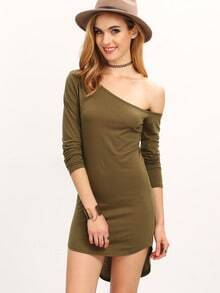 Army Green Sateen Pima One-shoulder Long Sleeve Slim Dress
