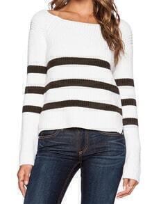 White Black Round Neck Striped Knit Sweater