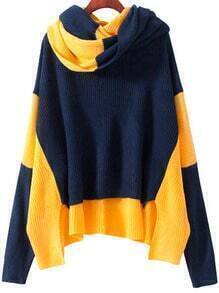 Colour-block Long Sleeve Loose Knit Sweater With Scarf