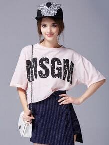 Pink Round Neck MSGM Print Loose Sweatshirt