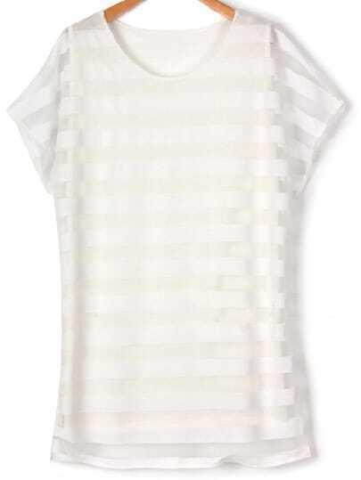 White Round Neck Striped Plus Dress