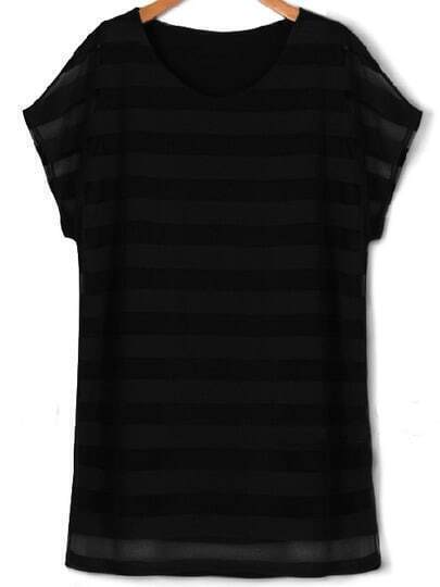 Black Round Neck Striped Plus Dress