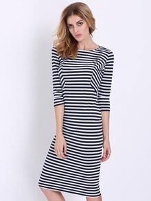 White Black Half Sleeve Striped Dress