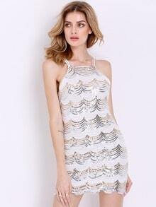 White Spaghetti Strap Backless Sequined Bodycon Dress
