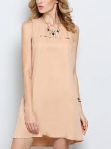 Apricot Sleeveless Pockets Casual Dress