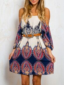 Multicolor Long Sleeve Off The Shoulder Vintage Print Dress