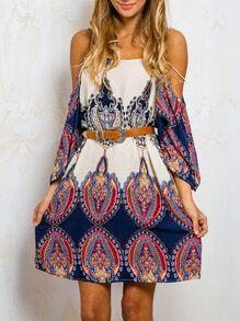 Multicolor Long Sleeve Off The Shoulder Vintage Print Dress
