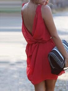 Red Sleveless Backless Dress