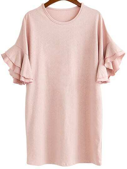 Pink Bell Sleeve Plus Dress