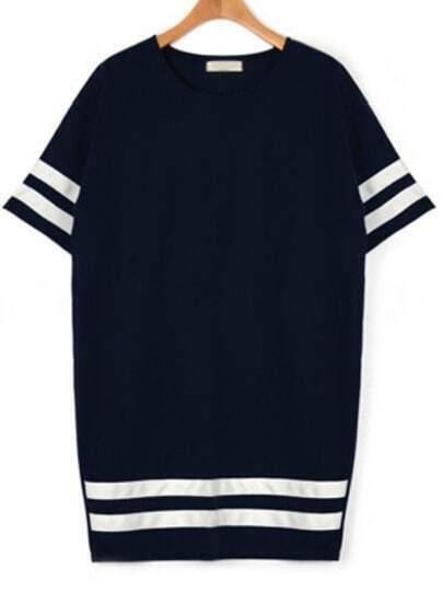 Navy Varsity Striped Plus Dress