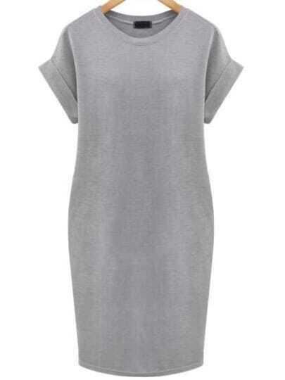 Grey Cuffed Edge Pockets Plus Dress