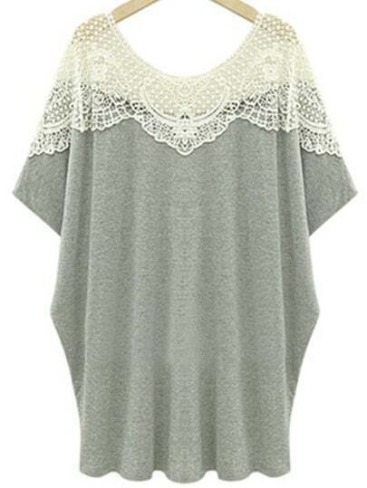 Pale Grey Crochet Hollow Plus T-shirt
