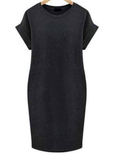 Black Cuffed Edge Pockets Plus Dress