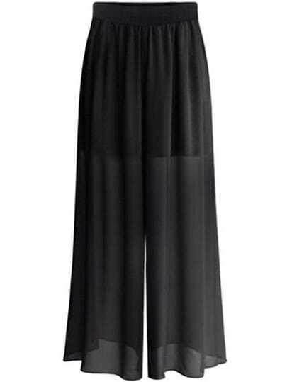 Black Elastic Waist Wide Leg Plus Pant