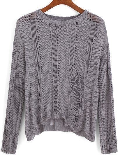 Grey Round Neck Ripped Knit Sweater
