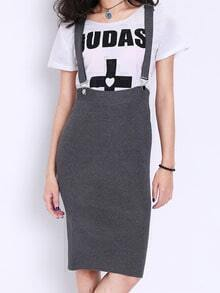 Grey Strap Knit Split Pinafore Dress