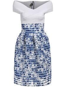 Blue White Boat Neck Floral Flare Dress