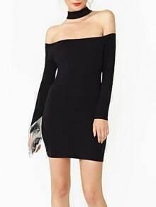 Black Halter Off the Shoulder Knit Dress
