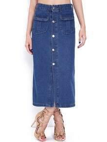 Blue Vintage Buttons Denim Skirt