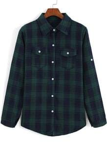Blue Green Lapel Long Sleeve Plaid Blouse