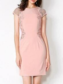 Apricot Round Neck Cap Sleeve Embroidered Bodycon Dress