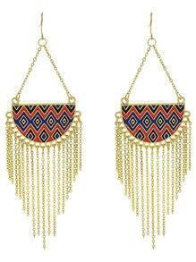 Bohemian Tribal Style Alloy Gold Color Long Tassel Earrings