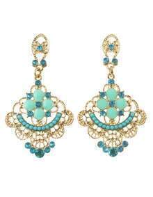 Bohemian Multicolors Rhinestone Chandelier Earrings