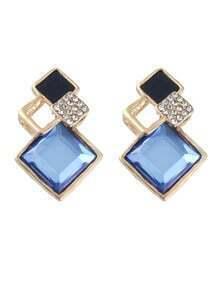 Geometric Shape Women Blue Stone Earrings