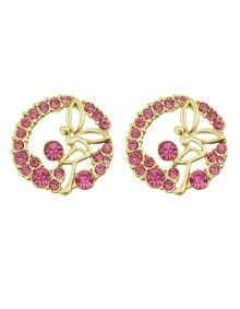 Elegant Style Beautiful Hotpink Rhinestone Round Stud Earrings Woman