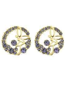 Purple Rhinestone Round Stud Earrings